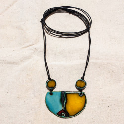 Water Green, Red and Yellow half circle Necklace