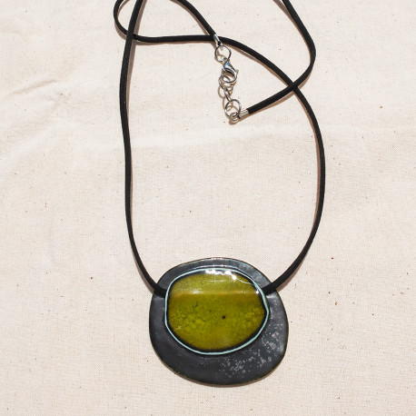 Green circle on Deep Silver Necklace