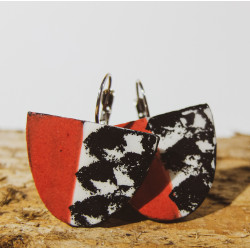 Half Oval Black and Red Earrings