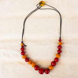 Red and Orang Beads Necklace