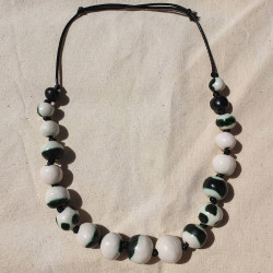 White and Deep Green Beads Necklace