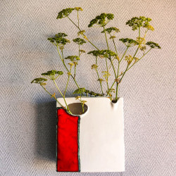 White and Red Wall/Pot Vase