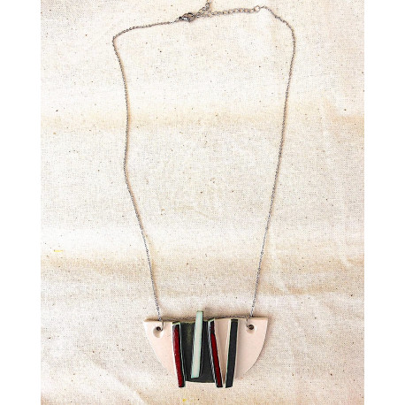 White, Red and Deep Green half circle Necklace